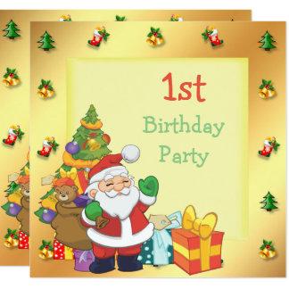 Tarjeta El navidad enmarcó el 1r cumpleaños de Santa y de