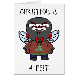 Tarjeta El navidad es una mosca doméstica del parásito