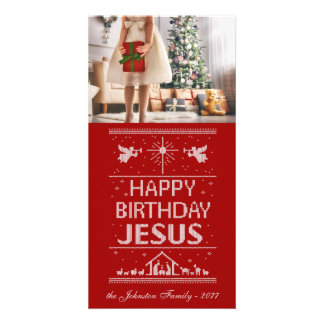 Tarjeta El navidad feo hace punto el feliz cumpleaños