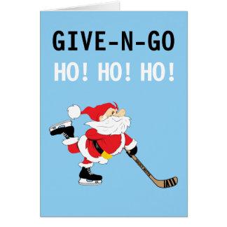 Tarjeta ¡El navidad patinador de Santa del hockey da N va