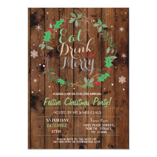 Tarjeta El navidad que la madera del fiesta de cena come