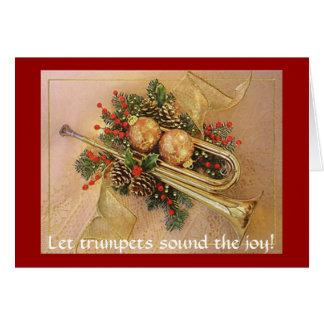 Tarjeta ¡El navidad toca la trompeta, deja las trompetas