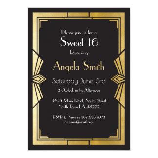 Tarjeta El negro de Gatsby del fiesta del dulce 16 del art