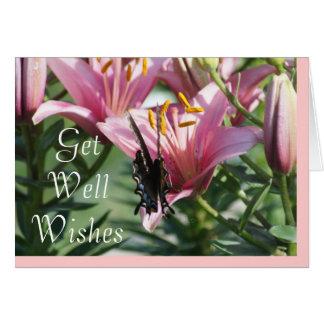 Tarjeta El negro Swallowtail en Lily2- de color de malva