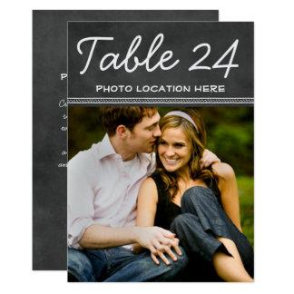 Tarjeta El número de la tabla de la foto del boda carda la