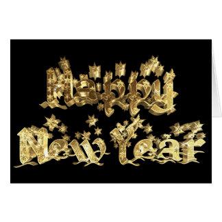 Tarjeta El oro del negro de la Feliz Año Nuevo protagoniza
