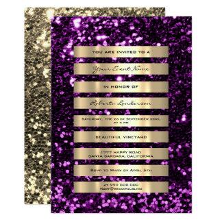 Tarjeta El oro del purpurina raya la púrpura ultravioleta