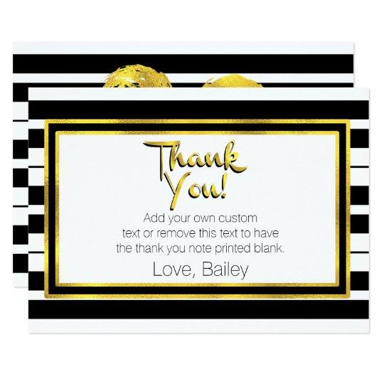 Tarjeta El oro, rayado blanco y negro le agradece las