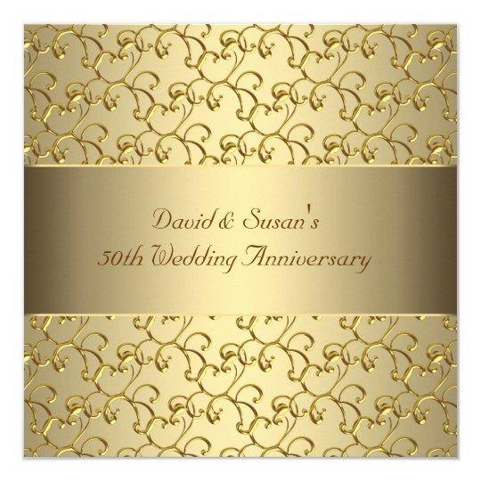 Tarjeta El oro remolina fiesta de aniversario del boda del
