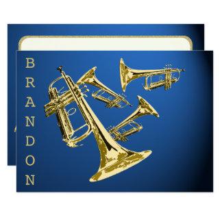 Tarjeta El oro y el azul de la música de la trompeta le