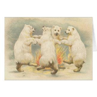 Tarjeta El oso polar del vintage lindo le agradece cardar