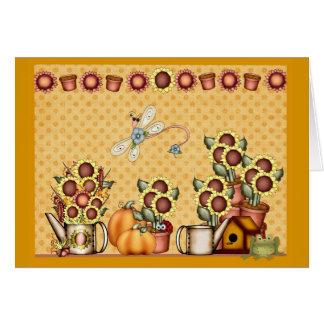 Tarjeta El país del amarillo del girasol del oro del otoño