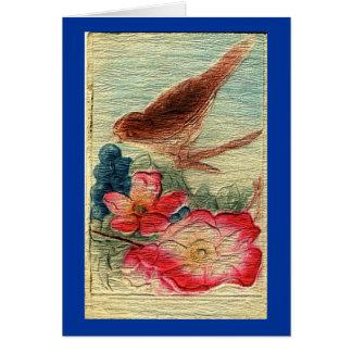 Tarjeta El pájaro del vintage y florece todo el saludo de