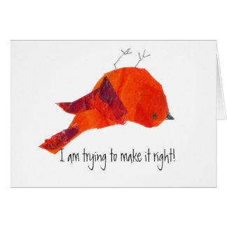 Tarjeta El pájaro rojo lindo me perdona