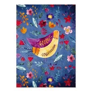Tarjeta El pájaro temprano en jardín de flores
