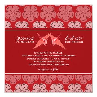 Tarjeta El papel doble de Origami Cranes el boda de Sakura