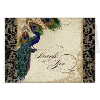 Tarjeta El pavo real y la pluma formales le agradecen