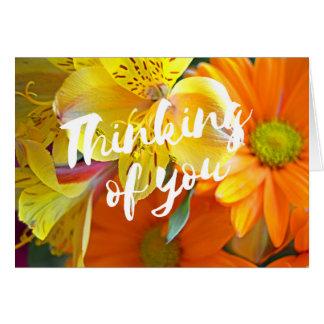 Tarjeta El pensamiento en usted carda - amarillo y naranja