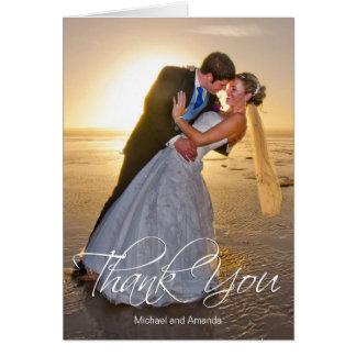 Tarjeta El personalizado de la foto del boda le agradece