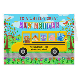 Tarjeta El personalizado del conductor del autobús escolar