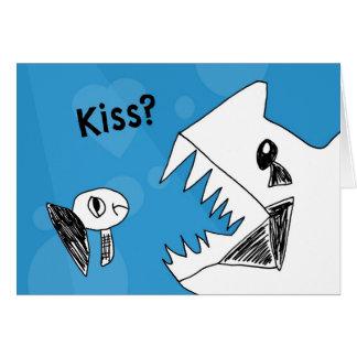Tarjeta El pescado gruñón necesita un beso Notecard