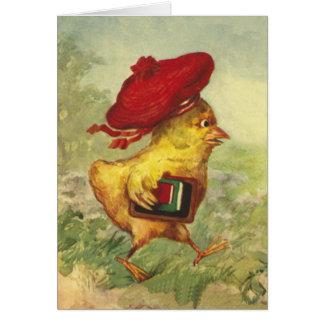 Tarjeta El polluelo en una boina roja vuelve a la escuela