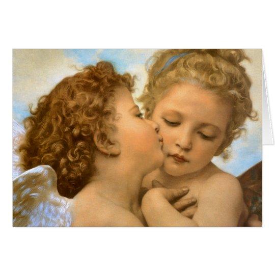 Tarjeta El primer beso por Bouguereau, ángeles del vintage