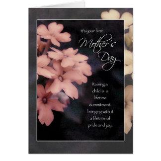 Tarjeta El primer día de madre, flores del Phlox del