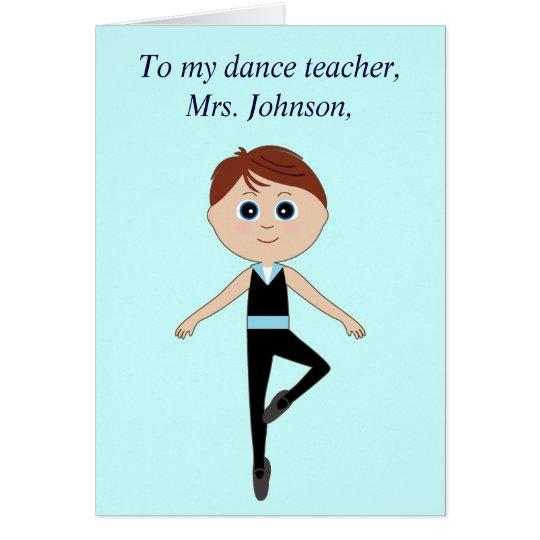 Tarjeta El profesor de la danza le agradece de bailarín