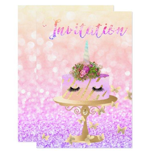 Tarjeta El purpurina subió unicornio del oro de la torta