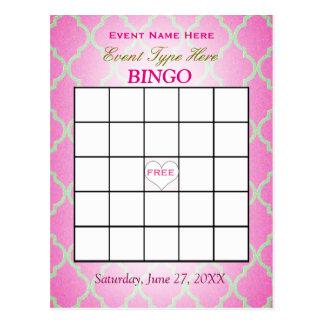 Tarjeta el | Quatrefoil rosado del bingo Postal