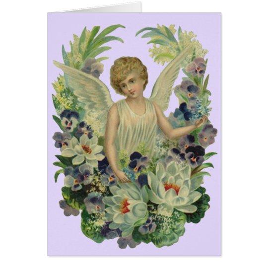 Tarjeta El ramo antiguo del ángel del vintage florece la