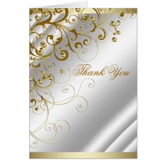 Tarjeta El remolino de marfil elegante del oro le agradece