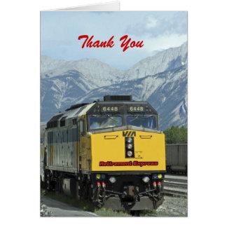 Tarjeta El retiro le agradece, tren amarillo