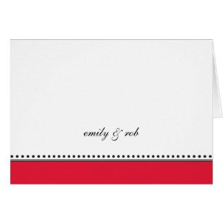 Tarjeta El rojo clásico con negro puntea Notecard