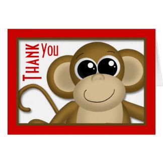 Tarjeta El rojo lindo del mono le agradece cardar
