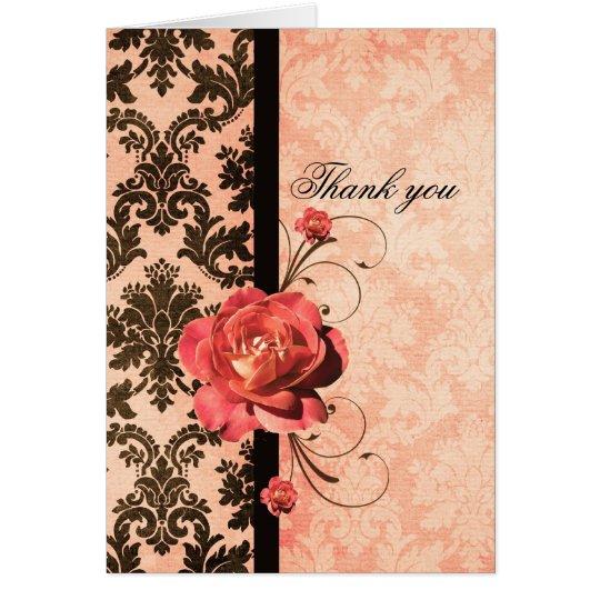 Tarjeta El rosa coralino del damasco elegante de lujo le