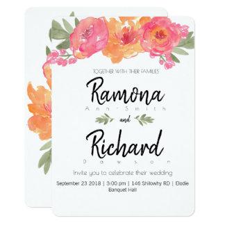Tarjeta El rosa del boda de la flor y floral anaranjado