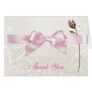 Tarjeta El rosa del Flourish del corazón le agradece