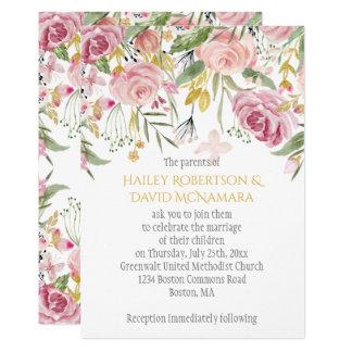 Tarjeta El rosa del polvo se ruboriza boda floral del