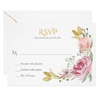 Tarjeta El rosa del polvo se ruboriza verdor RSVP floral