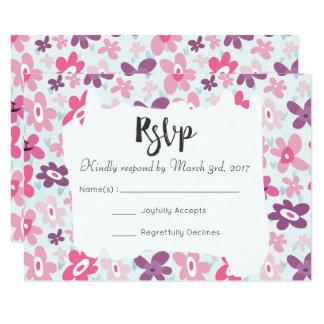 Tarjeta El rosa florece RSVP que se casa caprichoso lindo