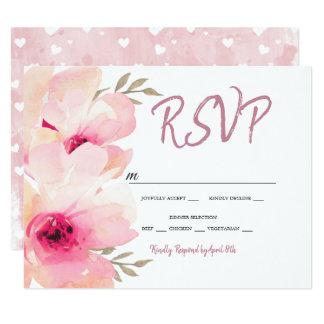 Tarjeta El rosa pintado del Peony se ruboriza el casarse