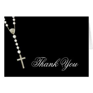 Tarjeta El rosario negro elegante del oro le agradece las