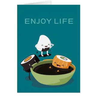 Tarjeta El sushi disfruta del tiempo del baño divertido