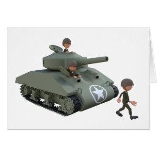 Tarjeta El tanque y soldados del dibujo animado que van