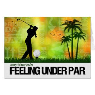 Tarjeta El tema femenino de los deportes del golfista