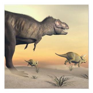 Tarjeta El Triceratops que se escapa del tyrannosaurus 3D