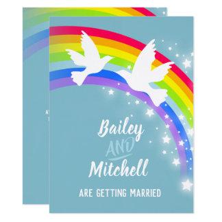 Tarjeta El trullo blanco del boda del arco iris de dos