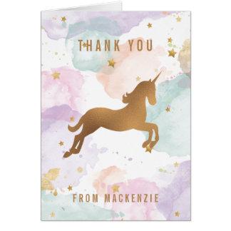 Tarjeta El unicornio en colores pastel le agradece